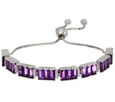 Baguette Amethyst & Zircon Sterling Adjustable Bracelet