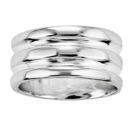 Sterling Silver 3-Row Solid Band Ring