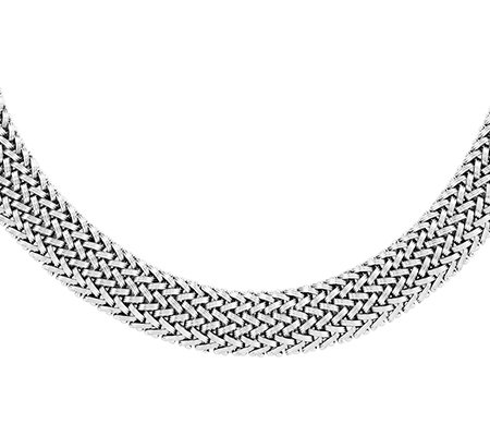 "Sterling Polished Mesh Link 18"" Necklace"