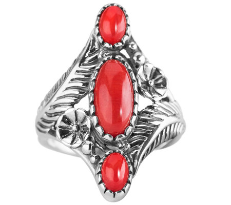 American West Sterling Red Coral Floral Elongated Ring
