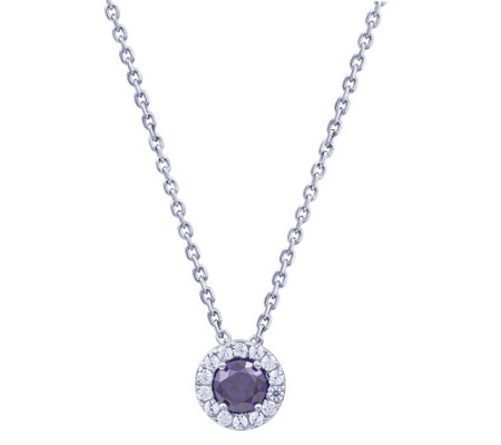 Diamonique Simulated Birthstone Halo Pendant