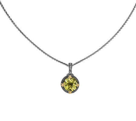 "Sterling and 14K Gold Limon Quartz Pendant w/ 18"" Chain"