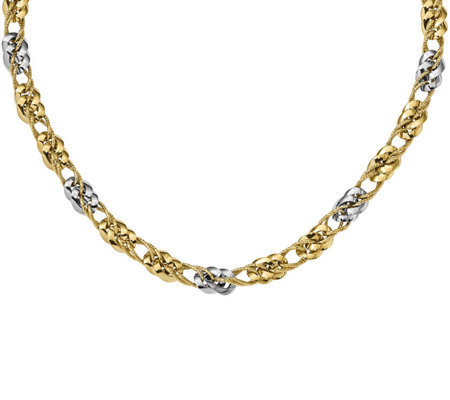 "14K Two-tone Fancy Curb Link 17-1/2"" Necklace,13.3g"