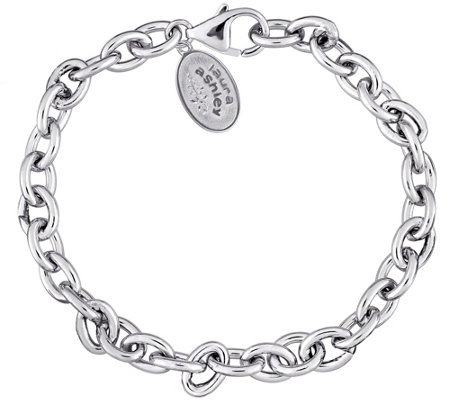 "Laura Ashley Sterling Silver 7-1/4"" Rolo Bracelet"