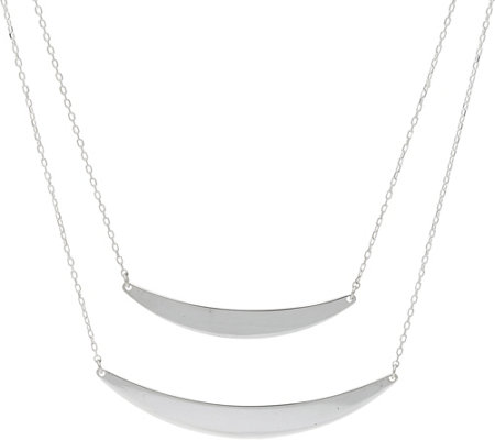 Sterling Silver Double Curved Bar Necklace by Silver Style