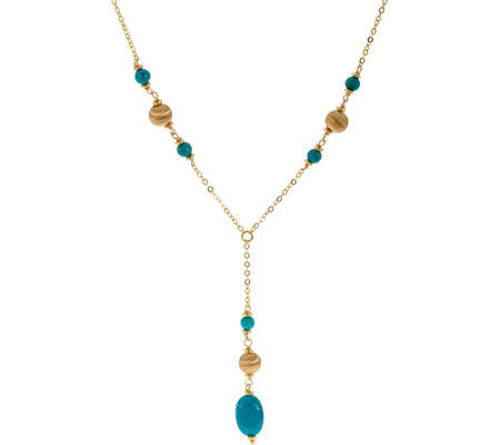 "Italian Silver Turquoise Drop Lariat 24"" Necklace Sterling"