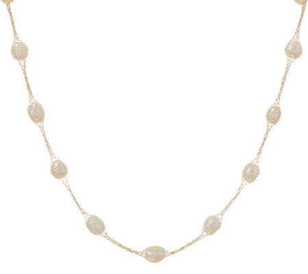 "Honora Cultured Pearl Mesh Station 24"" Necklace 14K Gold"