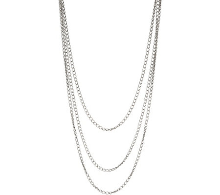 "Carolyn Pollack Sterling Silver Fancy Curb 72"" Necklace 28.0g"