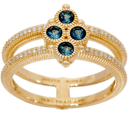 Judith Ripka 14k Gold London Blue Topaz & Diamond Ring
