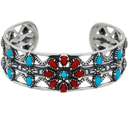 American West Sterling Silver Turquoise & Red Coral Flower Cuff