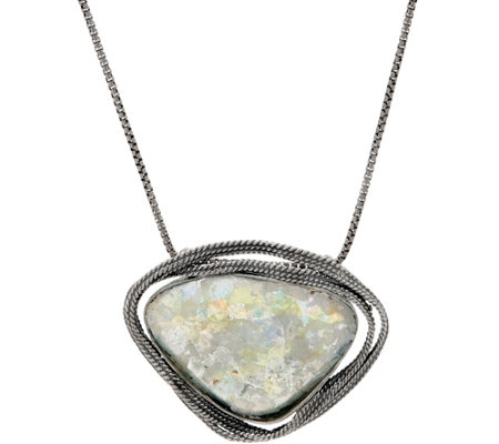 Or Paz Sterling Free-form Roman Glass Necklace