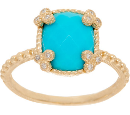 Judith Ripka 14K Gold Faceted Turquoise Ring
