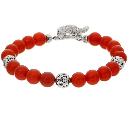 JAI Sterling Silver Carved Floral Gemstone Bead Bracelet