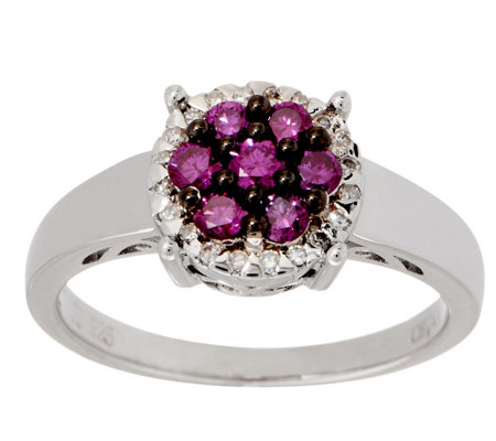 Purple Diamond Cluster Ring, 2/5 cttw, Sterling, by Affinity
