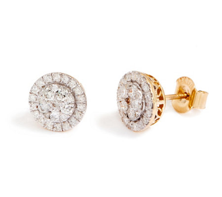 Round Cluster Diamond Stud Earrings, 14K 1/2 cttw 1/2 cttw