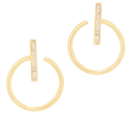 Italian Silver Open Circle White Topaz Hoop Earrings