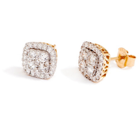 """As Is"" Cushion Cluster Diamond Stud Earrings, 14K, 1.00 cttw by Affinity"