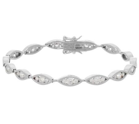 Diamonique Marquise Design Tennis Bracelet Sterling Or 14k Gold Clad