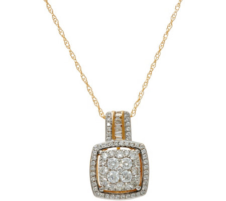 """As Is"" Cluster Diamond Cushion Pendant on Chain, 14K 3/4 cttw"