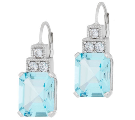 Diamonique And Simulated Aquamarine Earrings Sterling Silver