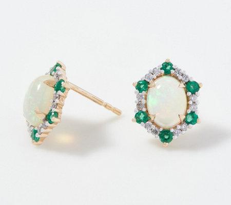 Opal Precious Gemstone Diamond Stud Earrings 0 20 Cttw 14k Gold