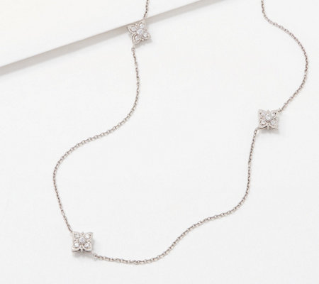 Diamonique 36 Inch Clover Station Necklace, Sterling Silver
