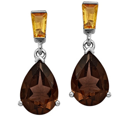 Sterling/14K Smoky Quartz and Citrine Earrings