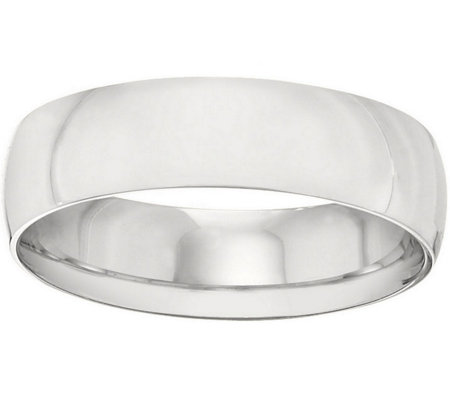 Women's 18K White Gold 6mm Half-Round Wedding Band