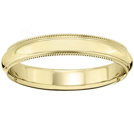 Women's 14K Yellow Gold 4mm Milgrain Wedding Band