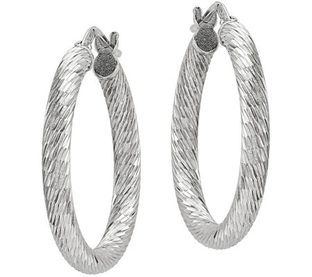 Sterling Diamond-Cut Round Hoop Earrings by Silver Style