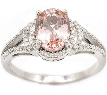 1.60 ct Morganite & 1/8 cttw Diamond Ring, 14K