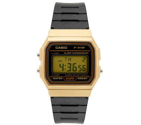 Casio Men S Black And Gold Digital Watch