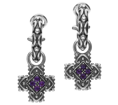 Elyse Ryan Sterling Silver Gemstone Cross DropEarrings