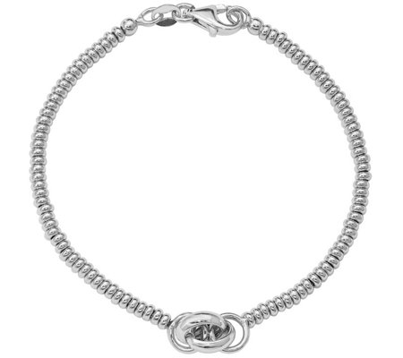 Italian Silver Beaded Knotted Bracelet, 5.8g