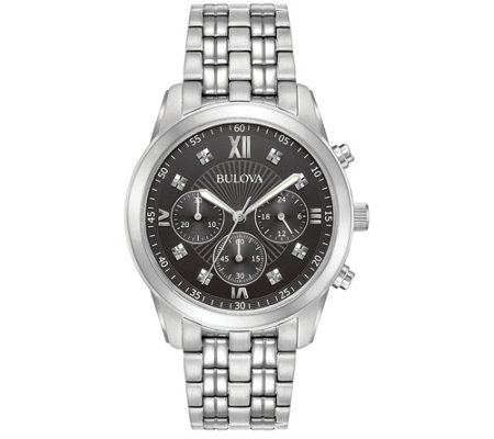 Bulova Men's Chronograph Stainless Steel Watch,Black Dial