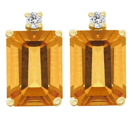 14k Emerald Cut Gemstone Diamond Accent Earrings