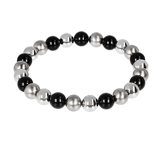 Steel by Design Gemstone Bead Stretch Bracelet
