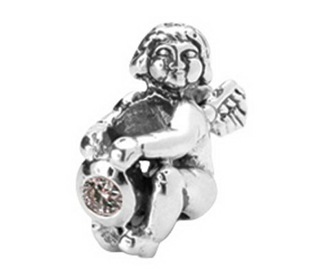 Prerogatives Sterling Angel with Birth CZ StoneAntiqued Bead