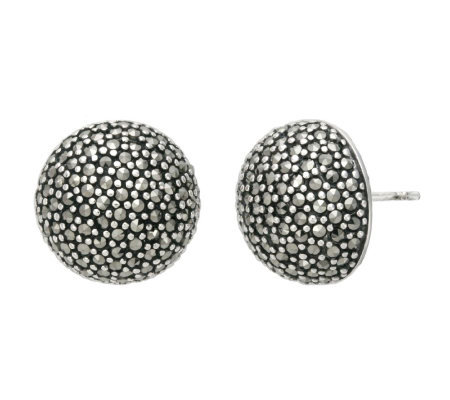 Suspicion Sterling Marcasite Large Domed Stud Earrings