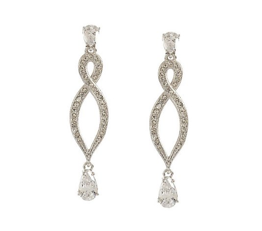 Nadri Simulated Diamond Twisted Design Drop Earrings