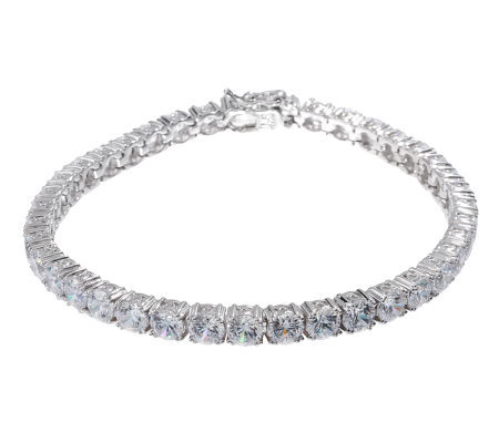 aa41709e06422 Diamonique Simulated Diamond Tennis Bracelet Platinum Clad — QVC.com