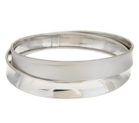 """As Is"" Italian Silver Sterling Large Cross-Over Bangle, 22.0g"
