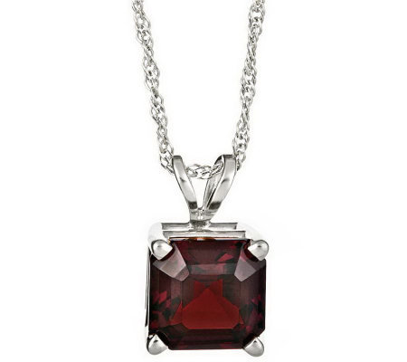 Sterling Asscher-Cut Gemstone Pendant with Chain