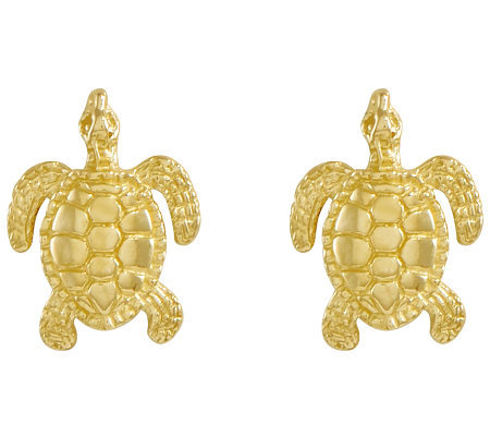 Polished Sea Turtle Stud Earrings, 14K Gold
