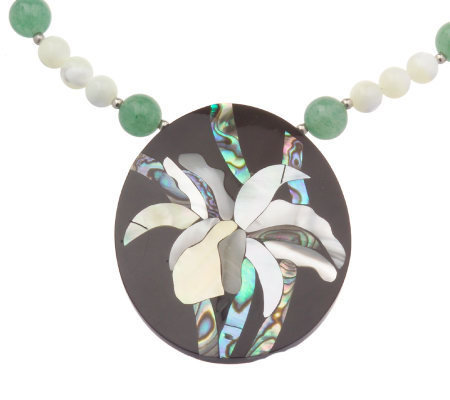 "Lee Sands Floral Inlay Pendant with 18"" Bead Necklace"