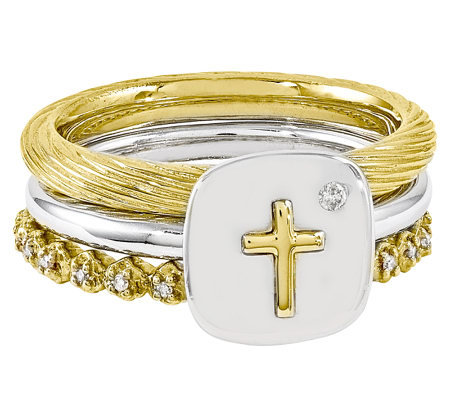 Simply Stacks Sterling Two-Tone Diamond Cross Ring Set