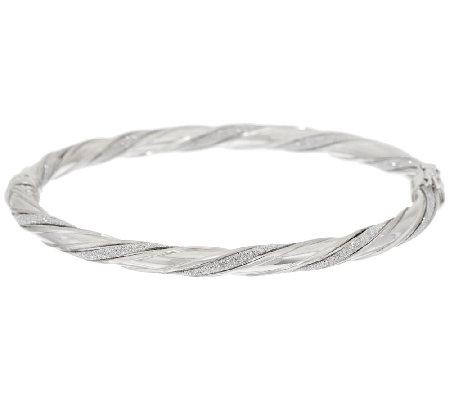 Italian Silver Sterling Small Pave' Glitter Twisted Hinged Bangle, 7.5g
