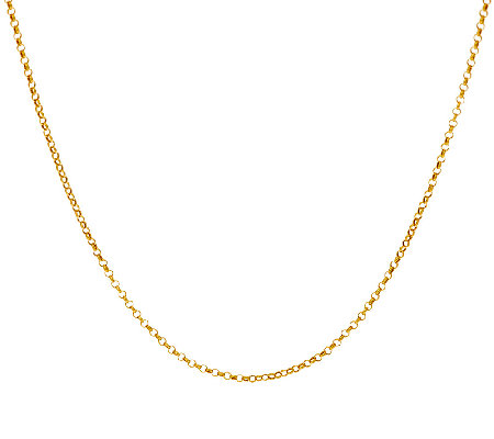 "Vicenza Gold 30"" Round Rolo Link Chain Necklace 14K, 1.6g"