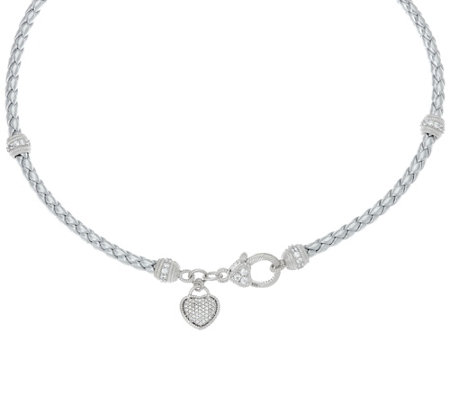 """As Is"" Judith Ripka Sterling Verona Braided Necklace with Heart Charm"