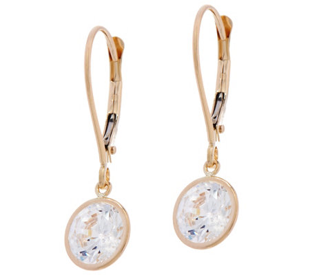 """As Is"" Diamonique 3.00 cttw Round Leverback Earrings, 14K"